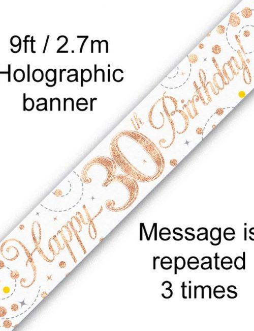 Banner Rose Gold Fizz 30th