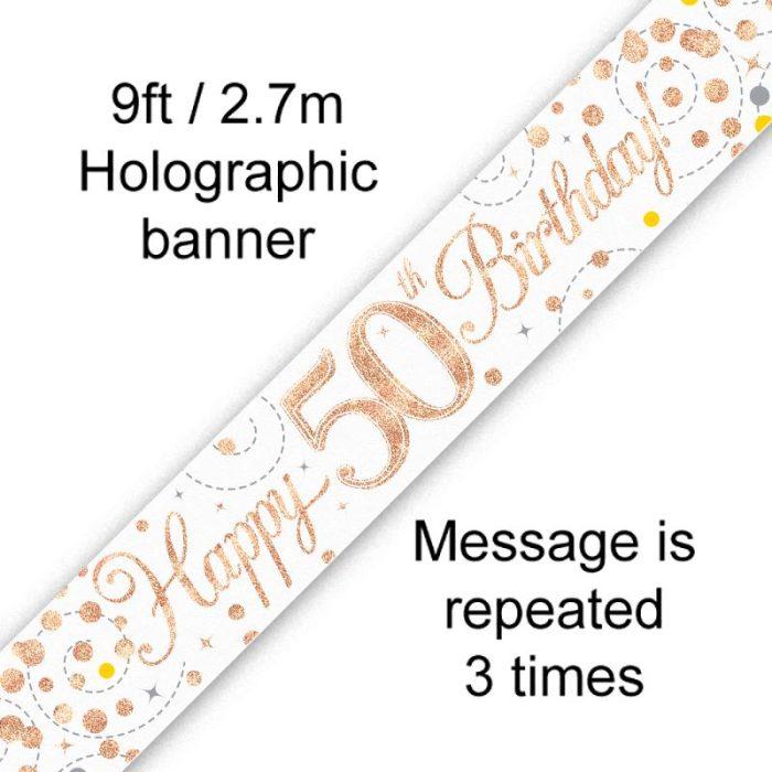Banner Rose Gold Fizz 50th