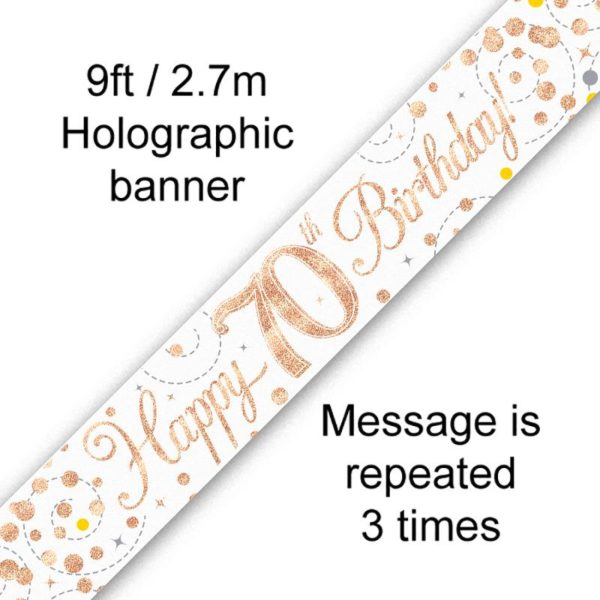 9ft Banner Sparkling Fizz 70th Birthday White & Rose Gold Holographic