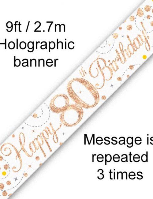 Banner Rose Gold Fizz 80th