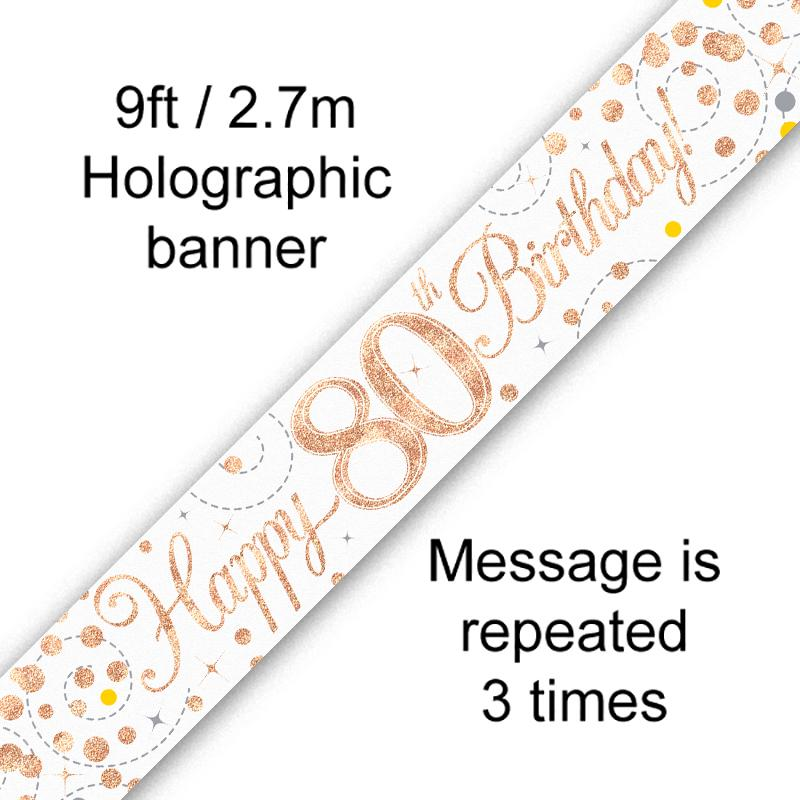 Banner Rose Gold Fizz 80th