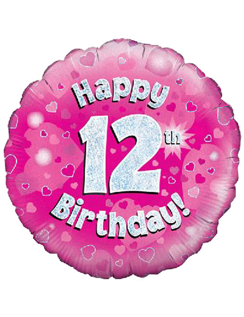 18inch Happy 12th Birthday Pink Holographic Balloon