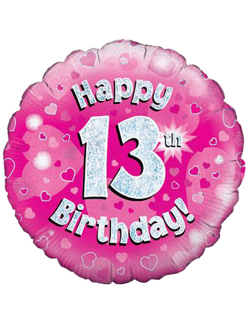 18inch Happy 13th Birthday Pink Holographic Balloon