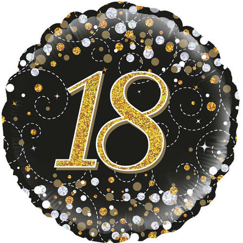 18inch 18th Sparkling Fizz Birthday Black & Gold Holographic