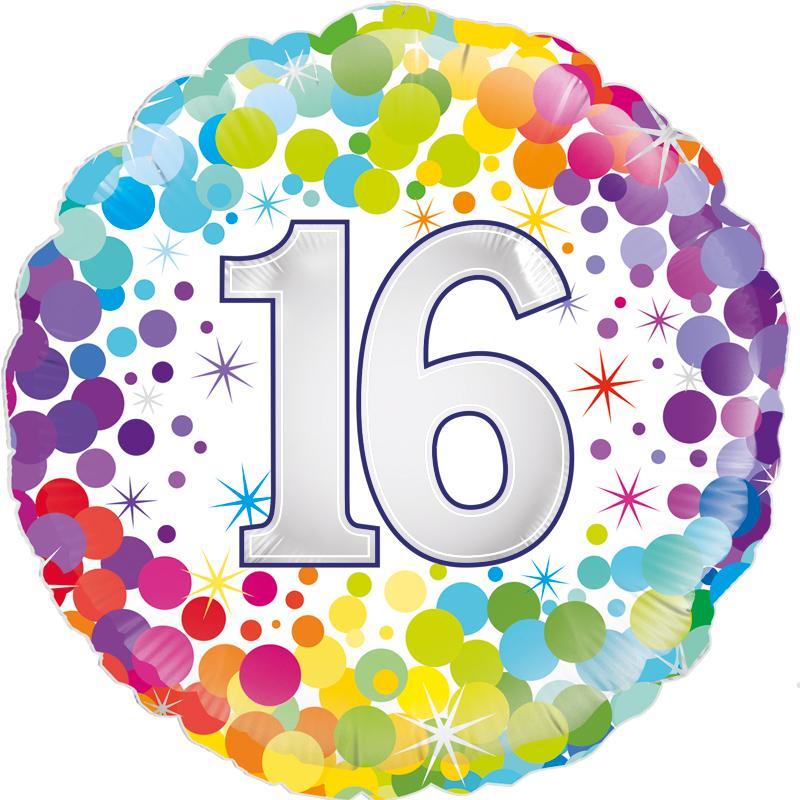 "18"" 16th Colourful Confetti Birthday"