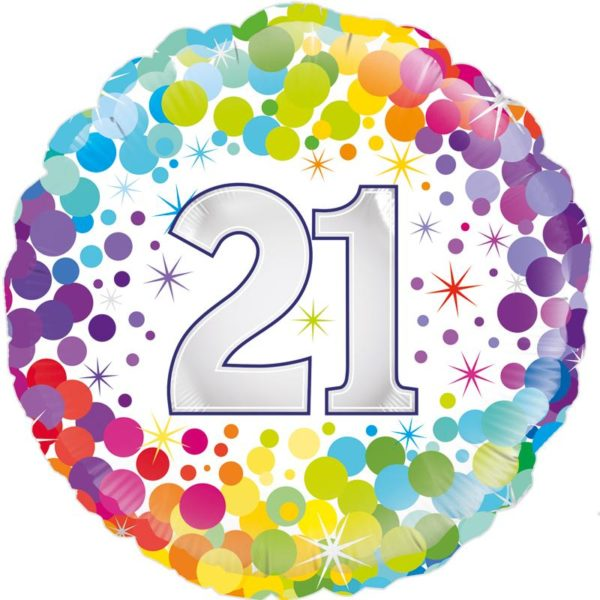 """18"""" 21st Colourful Dots Birthday"""