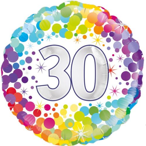 "18"" 30th Colourful Dots Birthday Balloon"