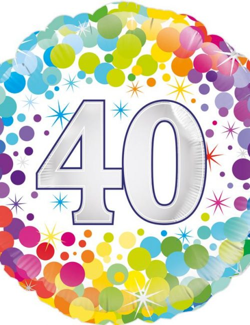 "18"" 40th Colourful Dots Birthday Balloon"