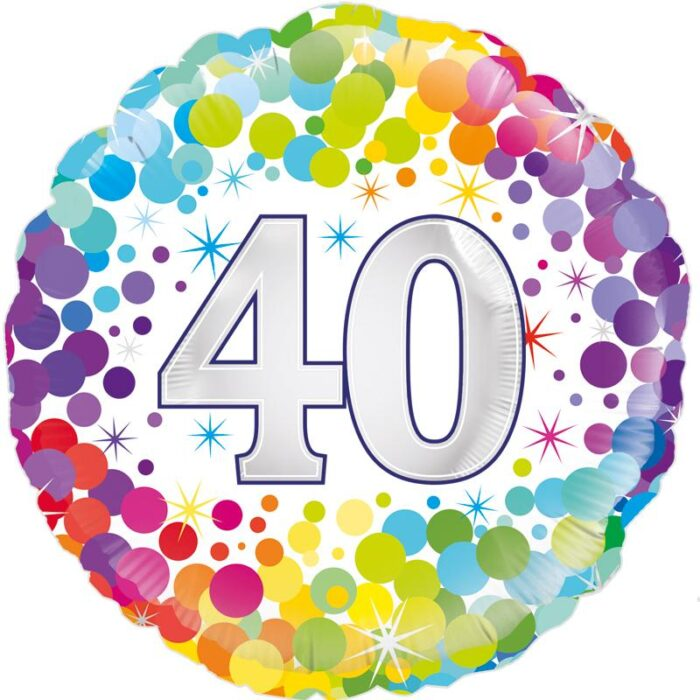"18"" 40th Colourful Dots Birthday Balloon"