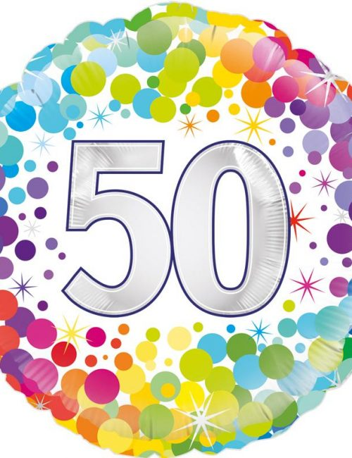 "18"" 50th Colourful Dots Birthday Balloon"