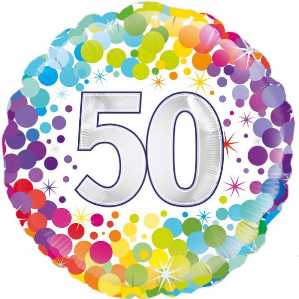 "18"" 50th Colourful Dots Birthday Balloon"