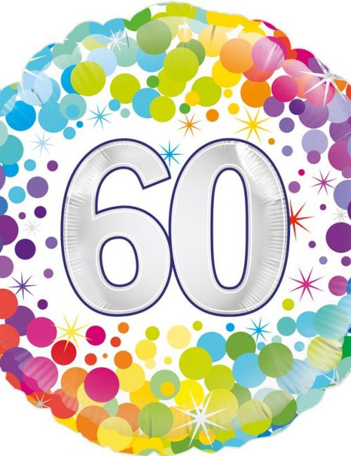 "18"" 60th Colourful Confetti Birthday balloon"