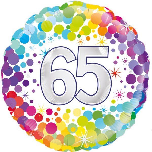 "18"" 65th Colourful Dots Birthday Balloon"