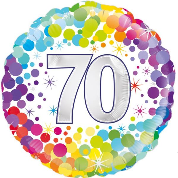 "18"" 70th Colourful Dots Birthday Balloon"