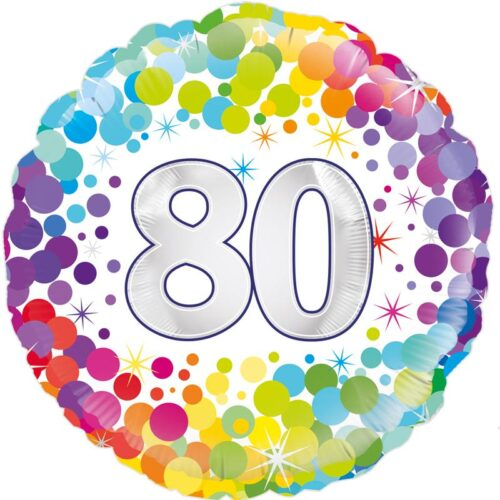 "18"" 80th Colourful Dots Birthday Balloon"