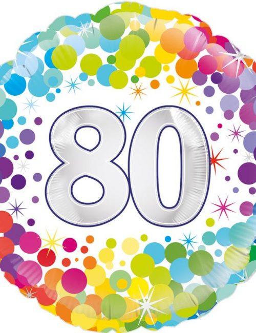 "18"" 80th Colourful Dots Birthday Balloon"