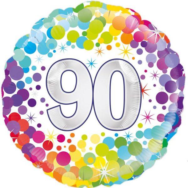 "18"" 90th Colourful Dots Birthday Balloon"