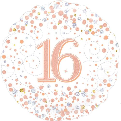 18inch Sparkling Fizz 16th Birthday White & Rose Gold Holographic