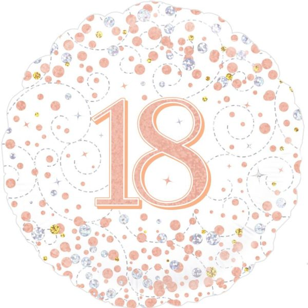 18inch Sparkling Fizz 18th Birthday White & Rose Gold Holographic