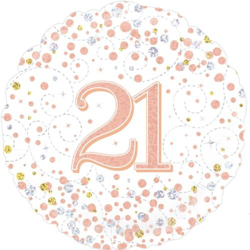 18inch Sparkling Fizz 21st Birthday White & Rose Gold Holographic