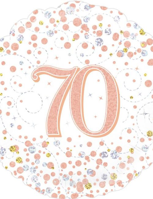 18inch Sparkling Fizz 70th Birthday White & Rose Gold Holographic
