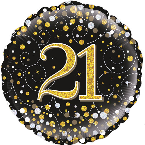 18inch 21st Sparkling Fizz Birthday Black & Gold Holographic