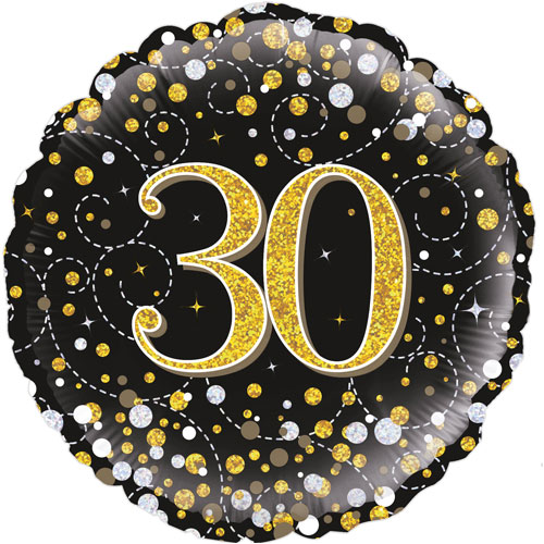 18inch 30th Sparkling Fizz Birthday Black & Gold Holographic