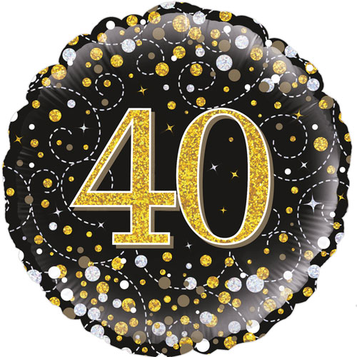 18inch 40th Sparkling Fizz Birthday Black & Gold Holographic