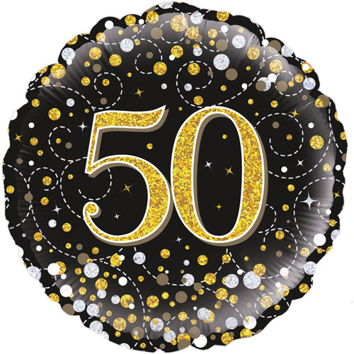 18inch 50th Sparkling Fizz Birthday Black & Gold Holographic