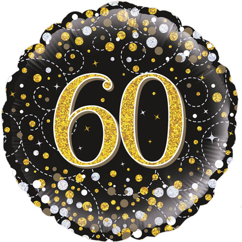 18inch 60th Sparkling Fizz Birthday Black & Gold Holographic