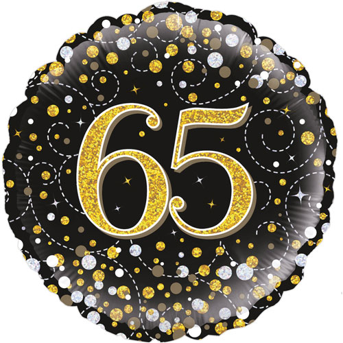 18inch 65th Sparkling Fizz Birthday Black & Gold Holographic