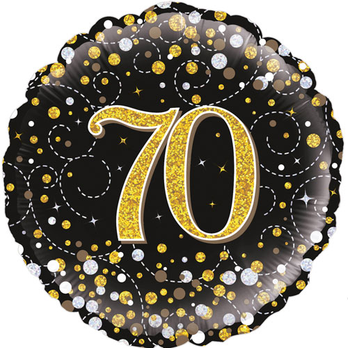 18inch 70th Sparkling Fizz Birthday Black & Gold Holographic