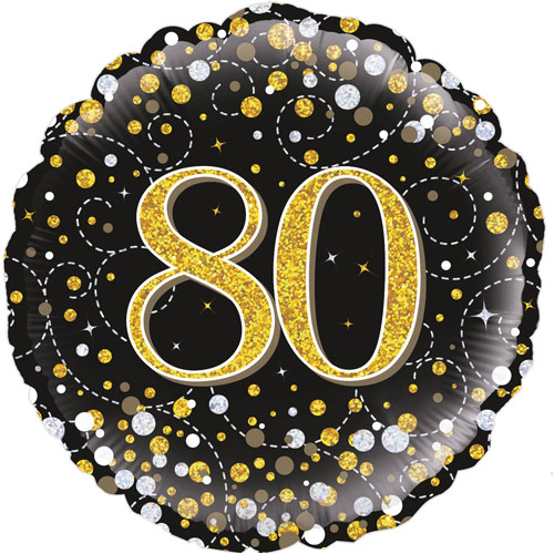 18inch 80th Sparkling Fizz Birthday Black & Gold Holographic