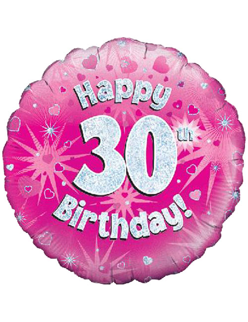 Pink 30th Foil Balloons
