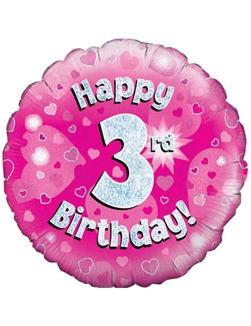 Pink 3rd Foil Balloon