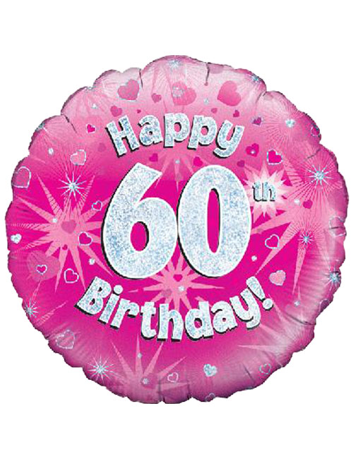 Pink 60th Foil Balloon