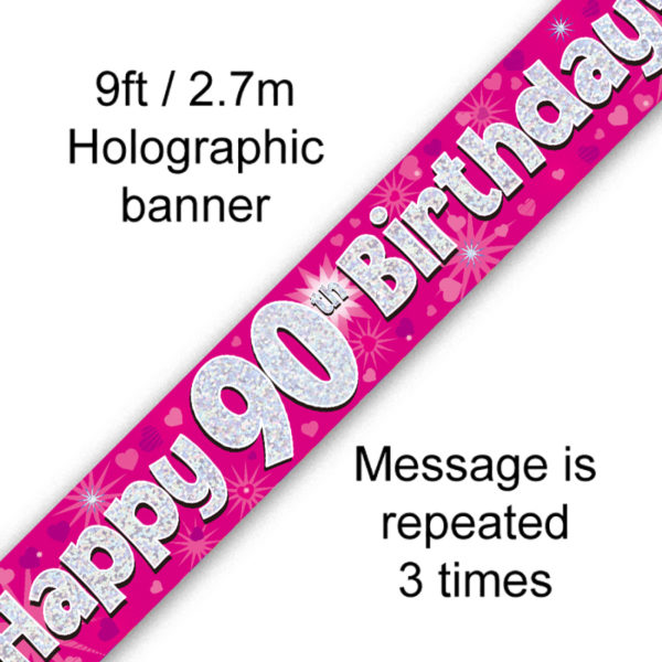 Pink 90th Birthday Banner