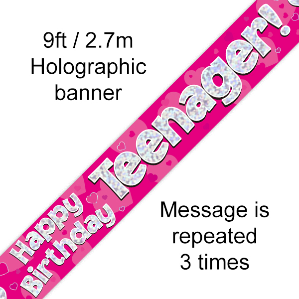 Pink Teenager Birthday Banner