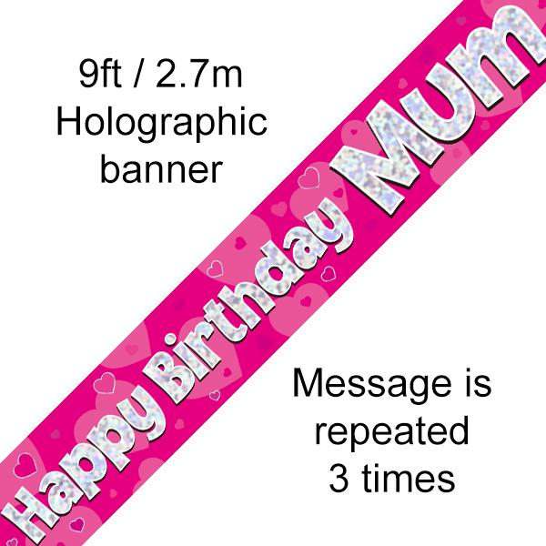 Pink Happy Birthday Mum Banner