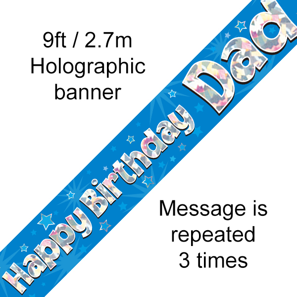 Blue Happy Birthday Dad Banner