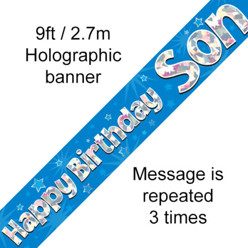 Blue Happy Birthday Son Banner
