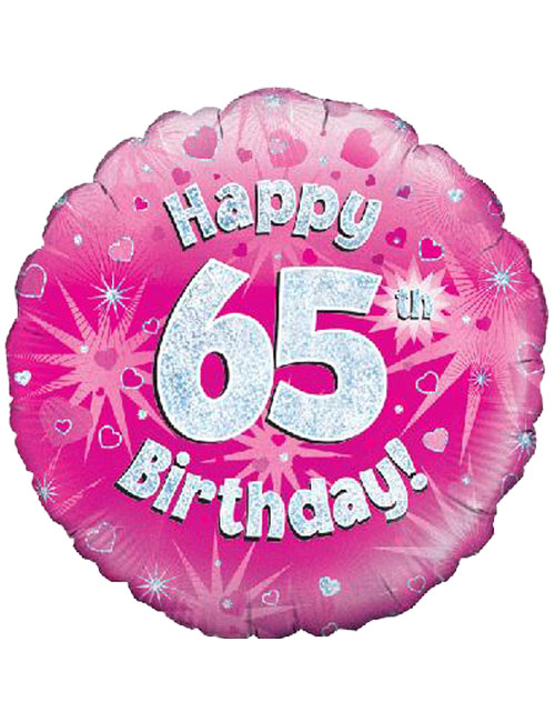 18inch Happy 65th Birthday Pink Holographic Balloon