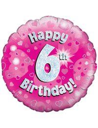 Pink 6th Foil Balloon