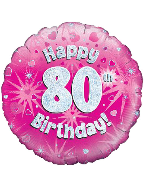18inch Happy 80th Birthday Pink Holographic Balloon