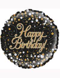 Happy Birthday Black Fizz Balloon