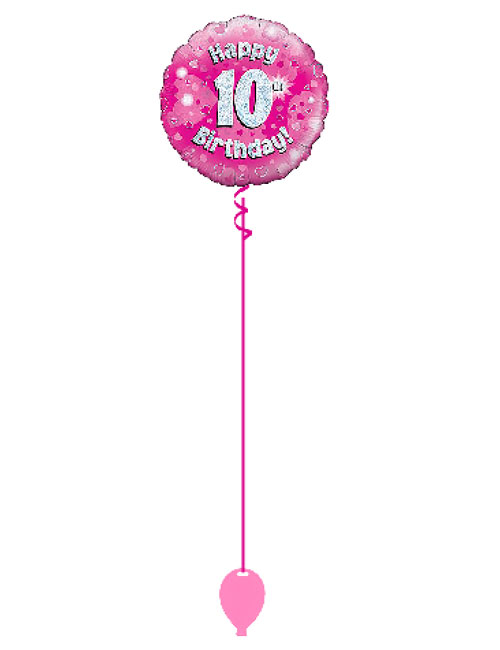 18inch Happy 10th Birthday Pink Holographic Balloon