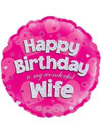 "18"" Pink Birthday Wife"
