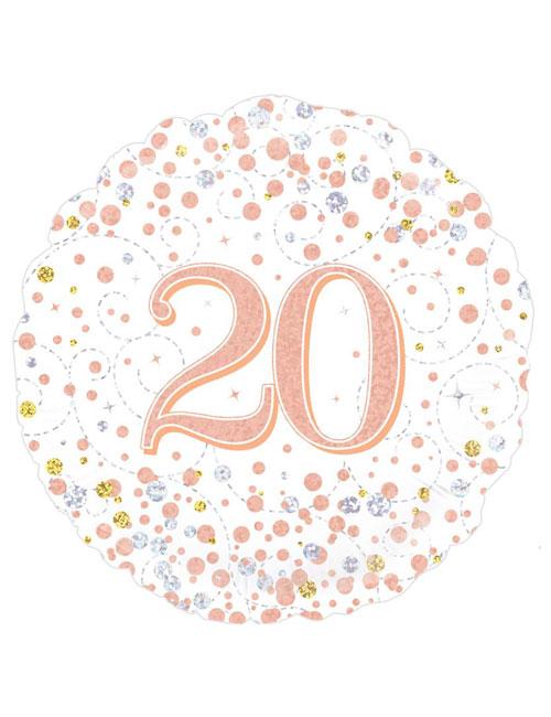 Rose Gold Fizz 20th Balloon