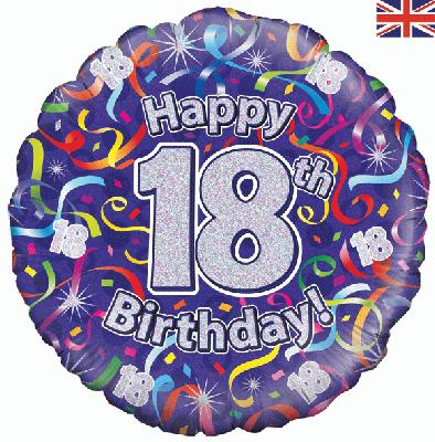 18inch 18th Birthday Streamers Holographic Balloon