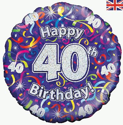 18inch 40th Birthday Streamers Holographic Balloon